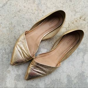 J.CREW gold Sloan D'Orsay pointy toe flats 7.5